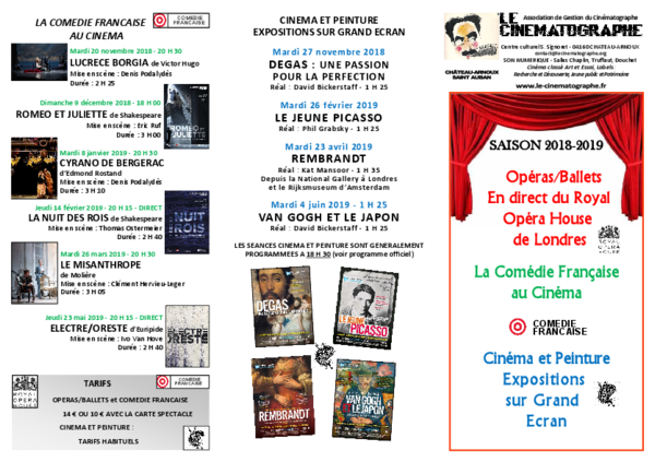 PROGRAMME SAISON  OPÉRA/ BALLET/ COMÉDIE FRANÇAISE/ PEINTURE