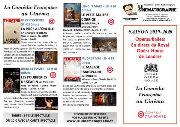 PROGRAMMATION OPÉRA / BALLET / COMÉDIE FRANÇAISE