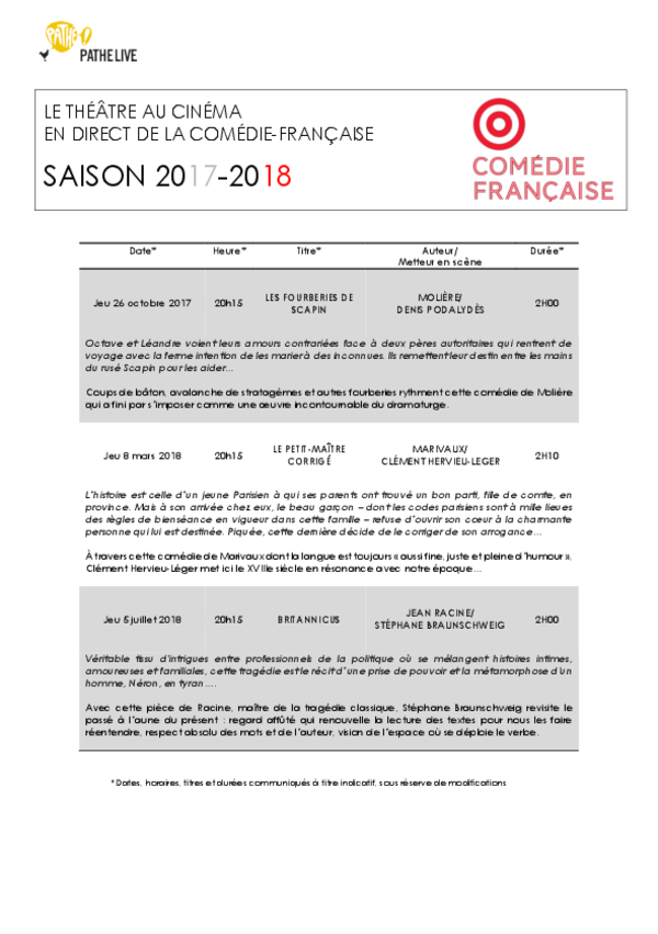 Calendrier Comedie Francaise.Calendrier